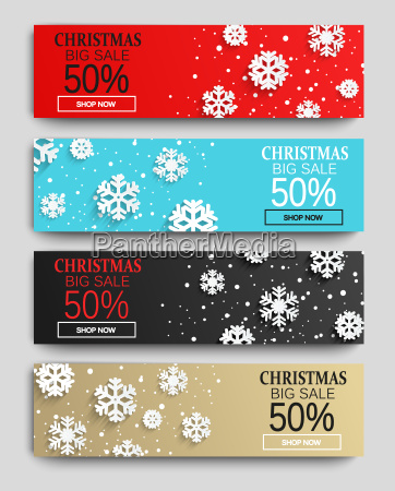 christmas sale banners set with snowflakes