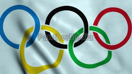 ondulacao da bandeira dos jogos olimpicos