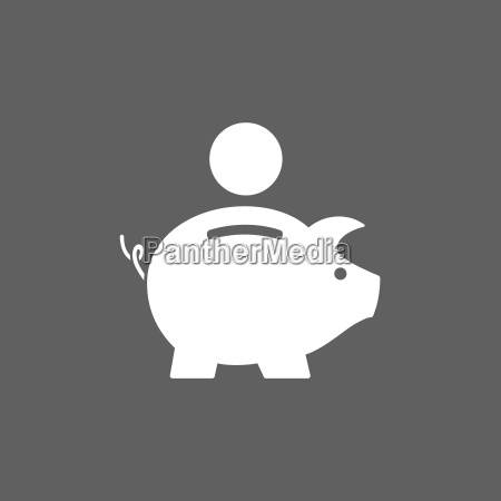 Icone do banco piggy no fundo