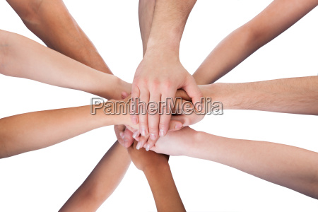 mao maos acordo togetherness empilhados alto