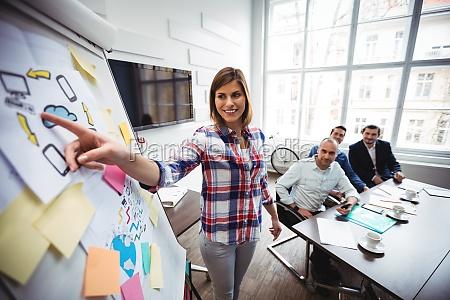 mulher de negocios feliz que da