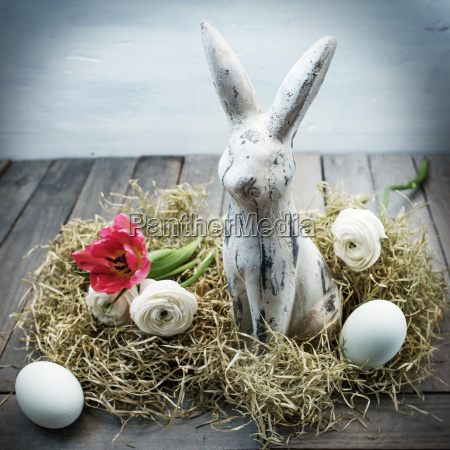 easter nest with a bunny in