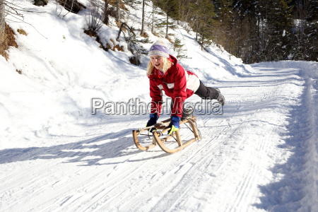 girl on sled