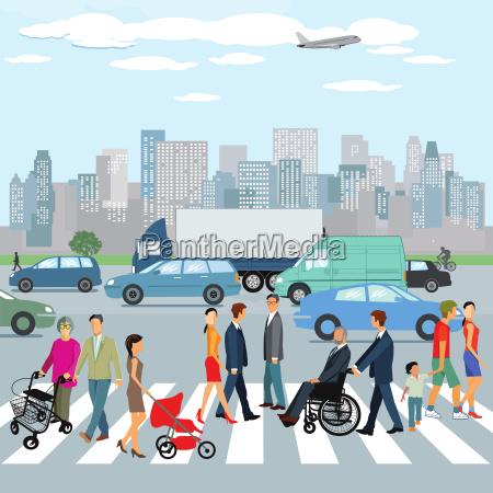 pessoas andando na passadeira na cidade