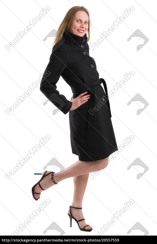 attractive, blonde, woman, in, black, winter - 20557559
