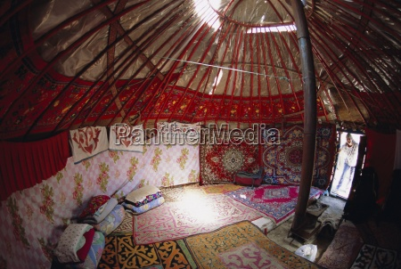 inside kazakhs yurt tianchi heaven lake