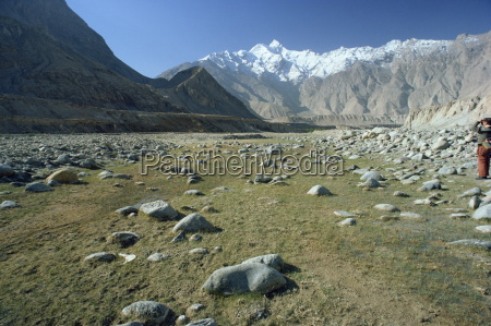 rocky valley with snow capped mountains