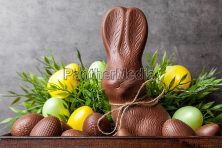 coelho e ovos tradicionais do chocolate