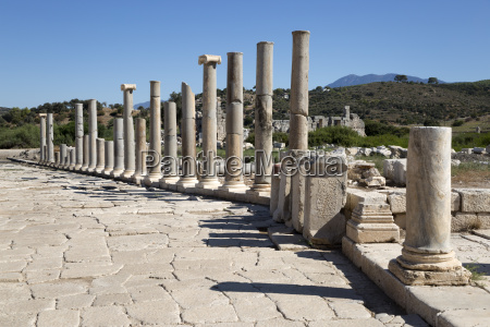 ruined colonnaded main street patara near
