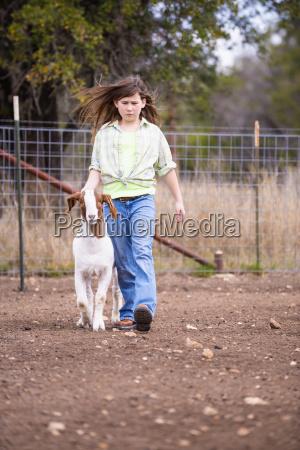 usa texas young girl walking with