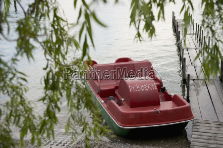 germany herrsching pedal boat moored at