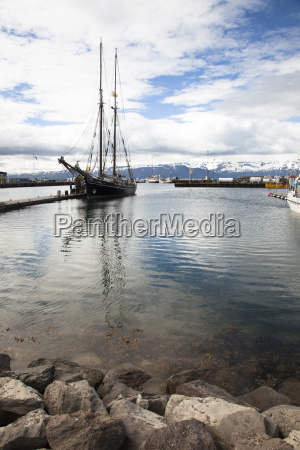 iceland sailing ship in the harbour