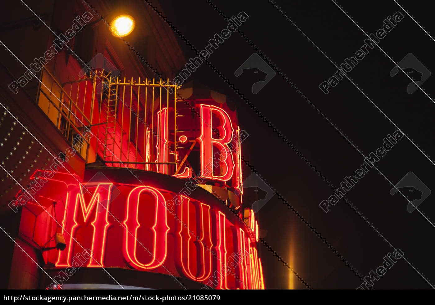 frança, paris, ilumina, o, moulin, rouge, de, noite - 21085079
