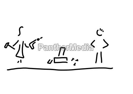 linha desenho da mulher que trabalha