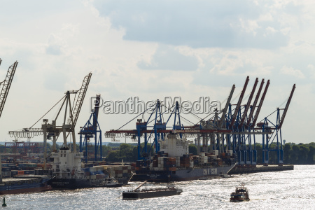 germany hamurg ships and container cranes
