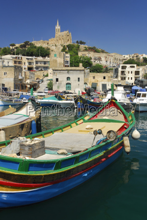 malta fishing boats in harbour of