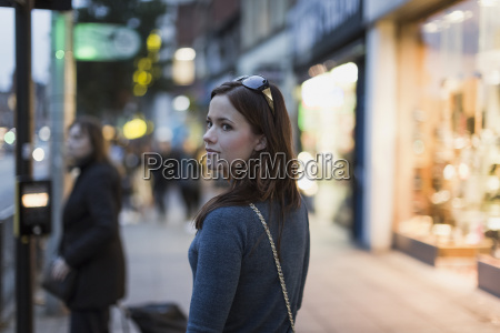 woman strolling in the city