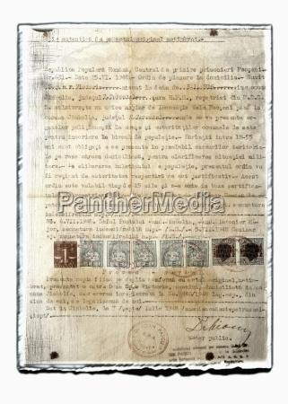 colagem do original velho com selos
