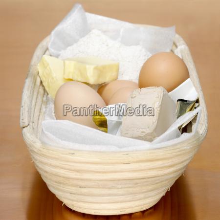 frescura cesta farinha ovo preparacao queimar