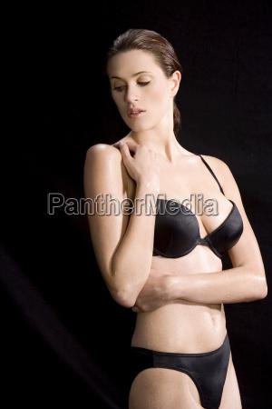 young woman wearing bikini portrait