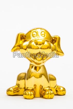 liberado animal estatua cao brinquedo dourado