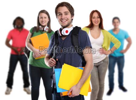 student gruppe unge dame griner mennesker