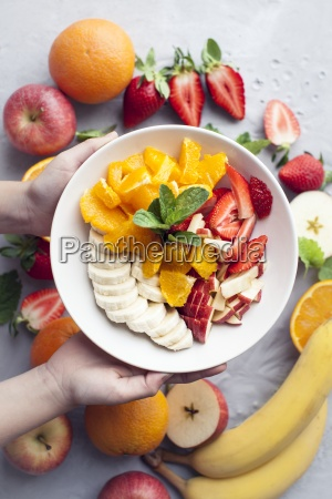 fruit salad with oranges bananas apple