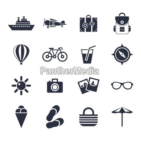 Icones pretos do curso da praia