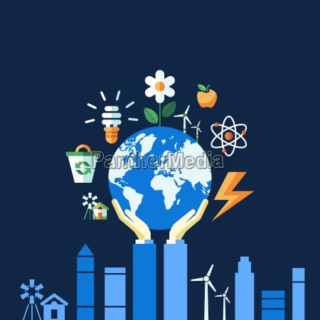 Icones azuis da ecologia do vetor