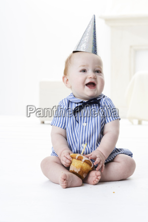 portrait of baby boy with birthday