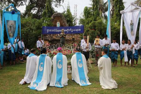 assumption celebration outside battambang catholic church