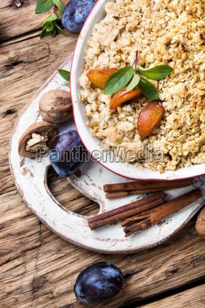 crumble dessert with plum