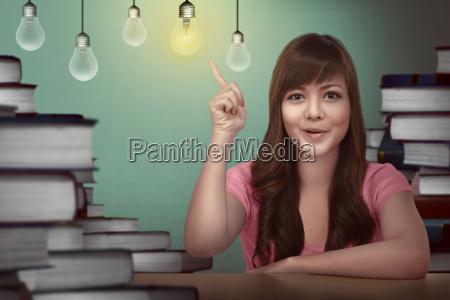 estudante femea asiatico que tem a