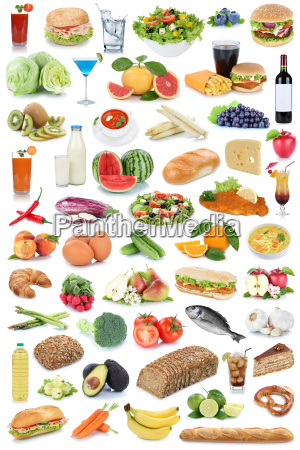 colagem alimento e bebida fundo saudavel