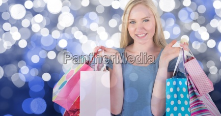 composite image of happy young woman
