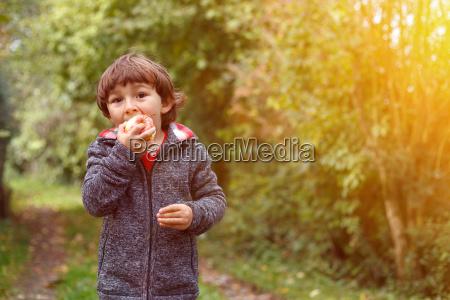 jovem menino fruta de maca comendo