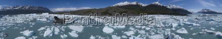 panoramic view of icebergs in lagoon