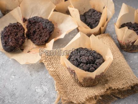 muffins de chocolate com close up