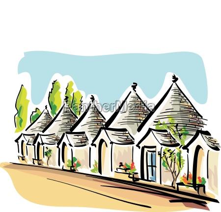 vector illustration das casas tipicas de