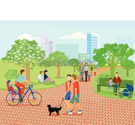 familias e pais relaxam no parque