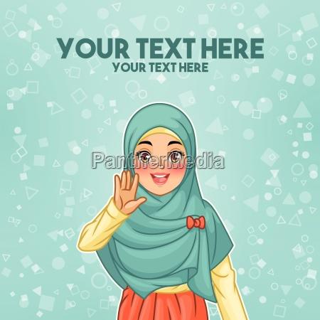 o veu vestindo do hijab da