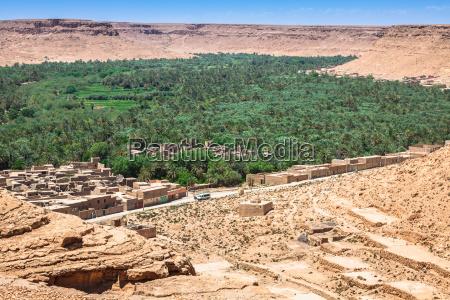 campos cultivados e palmeiras em errachidia