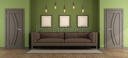 sala de visitas verde e marrom
