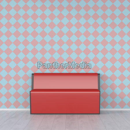 red bench in front of checkered