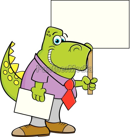 cartoon illustration of a dinosaur wearing