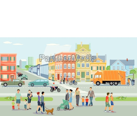 city with pedestrians and trafficillustration