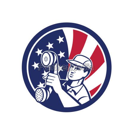 american telephone installation repair technician icon