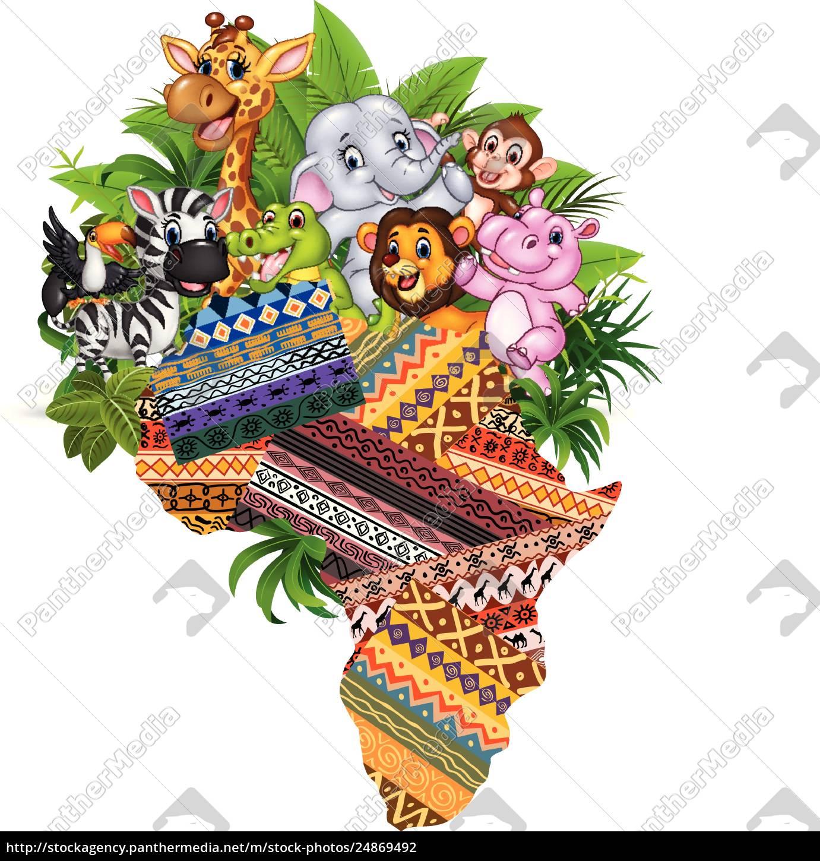 Animais Selvagens Africanos Dos Desenhos Animados Stockphoto