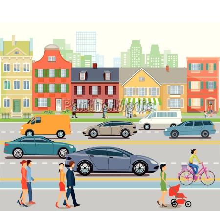 cidade com trafego de carros e