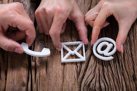 mãos, que, montam, contatam-nos, ícones - 25155414